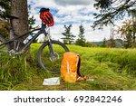 mountain biking equipment in...   Shutterstock . vector #692842246