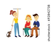 vector adult woman stays... | Shutterstock .eps vector #692842738