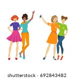 vector girl friends make selfie ... | Shutterstock .eps vector #692843482
