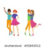 vector girl friends characters... | Shutterstock .eps vector #692843512