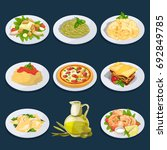 different food from italian... | Shutterstock . vector #692849785