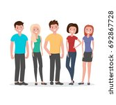 people stand and smile. free... | Shutterstock .eps vector #692867728