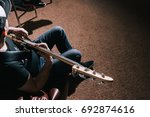 bass guitar top view. music... | Shutterstock . vector #692874616