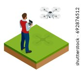 isometric man with drone... | Shutterstock .eps vector #692876512