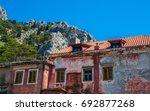 Small photo of Historic view at famous romanesque landmark fortress Mirabela above town Omis, Dalmatia region, Croatia.