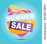 summer sale banner. sale 50off. ... | Shutterstock .eps vector #692877892