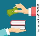 flat businessman hands giving... | Shutterstock .eps vector #692888092