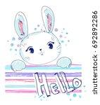 Stock vector hand drawn cute bunny vector rabbit illustration print design bunny children print on t shirt 692892286