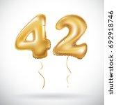 vector golden 42 number forty... | Shutterstock .eps vector #692918746