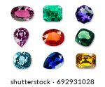 mix of bright gems isolated on... | Shutterstock . vector #692931028