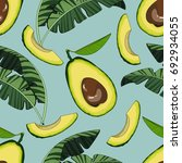 seamless pattern with avocado... | Shutterstock .eps vector #692934055