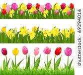 3 flower borders from tulips... | Shutterstock .eps vector #69294016