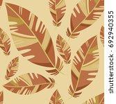 vintage bird feathers seamless...   Shutterstock .eps vector #692940355