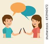 smartphone addiction concept... | Shutterstock .eps vector #692940472