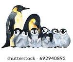 emperor penguins with children... | Shutterstock . vector #692940892