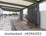 long wooden chair in waiting... | Shutterstock . vector #692941552