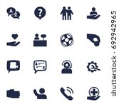 set of 16 support icons set... | Shutterstock .eps vector #692942965