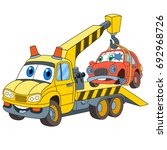 cartoon vehicle transport. tow... | Shutterstock .eps vector #692968726
