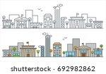 flat line city street landscape ... | Shutterstock .eps vector #692982862