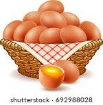 eggs in basket isolated on white | Shutterstock .eps vector #692988028
