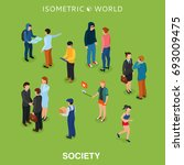 isometric flat people crowd... | Shutterstock .eps vector #693009475