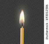 burning candle on a transparent ... | Shutterstock .eps vector #693012586
