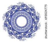 chinese porcelain round frame...   Shutterstock .eps vector #693024775