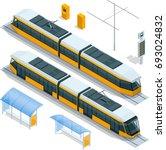 set of isometric passenger tram ... | Shutterstock .eps vector #693024832
