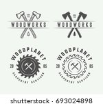 set of vintage carpentry ... | Shutterstock .eps vector #693024898