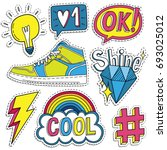 fashion badges  patches ... | Shutterstock .eps vector #693025012