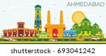 ahmedabad skyline with color... | Shutterstock .eps vector #693041242