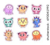 stickers set pop art comic...