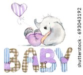 Stock photo cute baby newborn elephant watercolor illustration birthday greeting card 693043192
