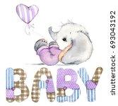 cute baby. newborn elephant... | Shutterstock . vector #693043192