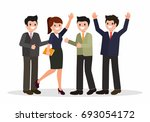business team celebrating a... | Shutterstock .eps vector #693054172