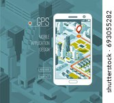 mobile gps and tracking concept.... | Shutterstock .eps vector #693055282