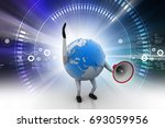 3d illustration of  globe with... | Shutterstock . vector #693059956