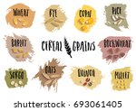 vector set of cereal emblems... | Shutterstock .eps vector #693061405