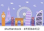 monuments of europe. sights of... | Shutterstock .eps vector #693066412