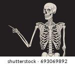 human skeleton finger pointing... | Shutterstock .eps vector #693069892