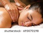 close up of woman enjoying... | Shutterstock . vector #693070198