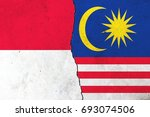 two flags  indonesia  malaysia   Shutterstock . vector #693074506