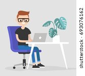 working space. young character... | Shutterstock .eps vector #693076162