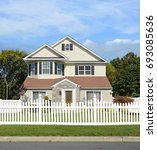suburban two story bungalow...   Shutterstock . vector #693085636
