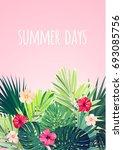 floral vertical postcard design ... | Shutterstock .eps vector #693085756