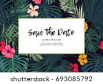 tropical wedding invitation... | Shutterstock . vector #693085792