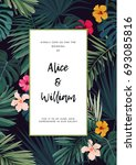 tropical wedding invitation... | Shutterstock . vector #693085816