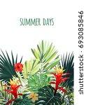 floral vertical postcard design ... | Shutterstock .eps vector #693085846