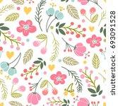 beautiful floral seamless... | Shutterstock .eps vector #693091528