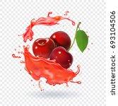 cherry juice realistic fresh... | Shutterstock .eps vector #693104506